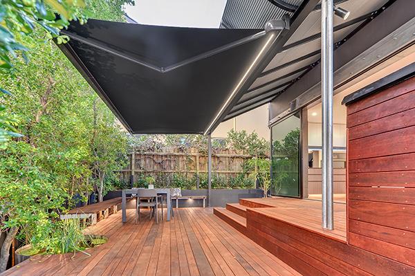 LED lighting on folding arm awning - markilux Brisbane, Gold Coast, Sunshine Coast