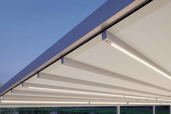 Lighting on retractable awning roof